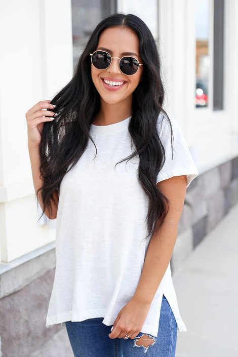 Model wearing White Short Sleeve Contrast Tee Front View