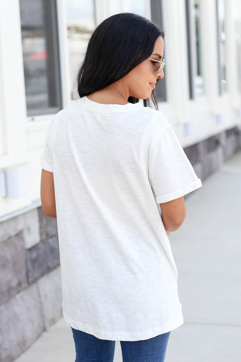 Model wearing White Short Sleeve Contrast Tee Back View