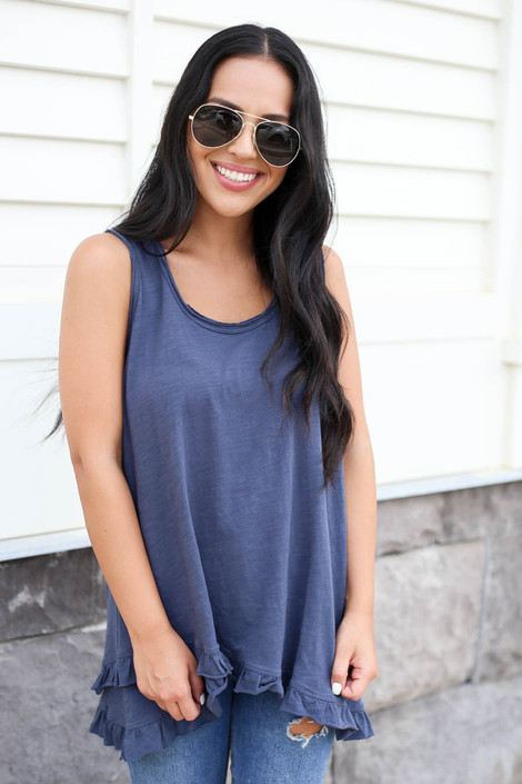 Model wearing Navy Ruffled Tank Top Front View