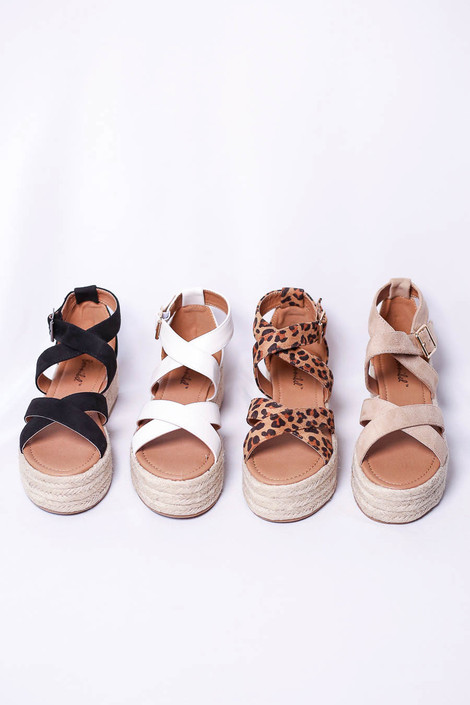 White - Black, Leopard, and Natural Criss Cross Strap Platform Espadrilles Flat Lay