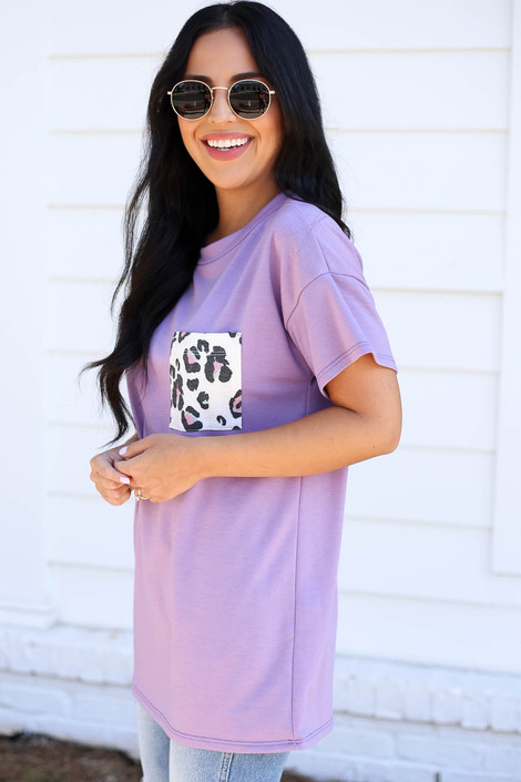 Model wearing Purple Leopard Print Pocket Tee Side View