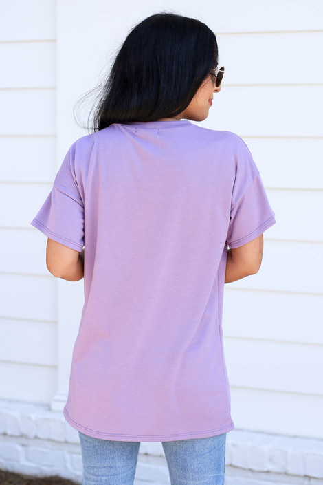 Model wearing Purple Leopard Print Pocket Tee Back View