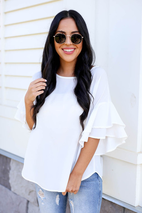 Ivory - Ruffle Sleeve Blouse Front View