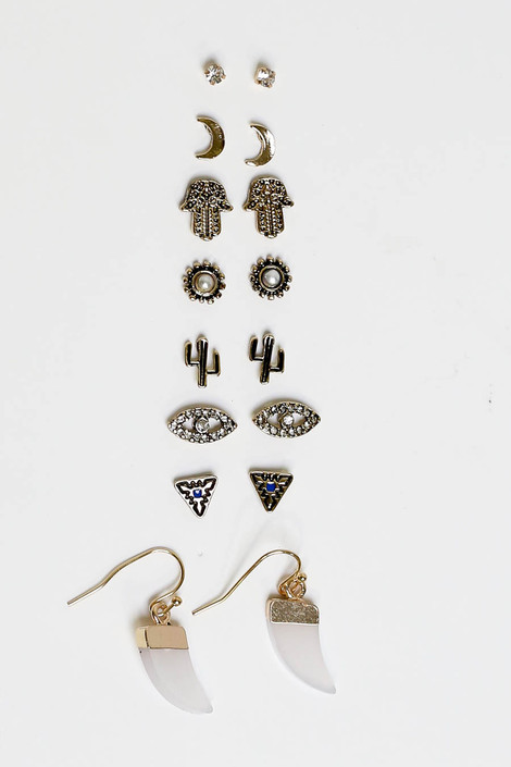 Gold - Vintage 8 Piece Earring Set Flat Lay