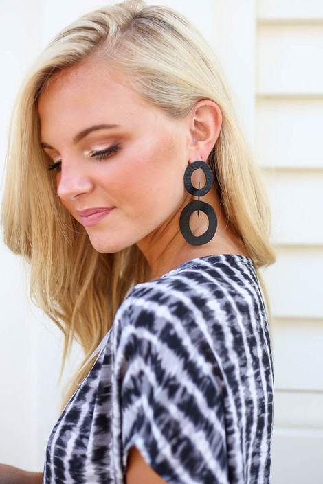 Black - Hammered Metal Statement Earrings on Model