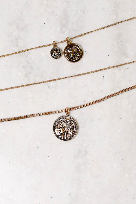 Gold - Layered Coin Necklace Flat Lay