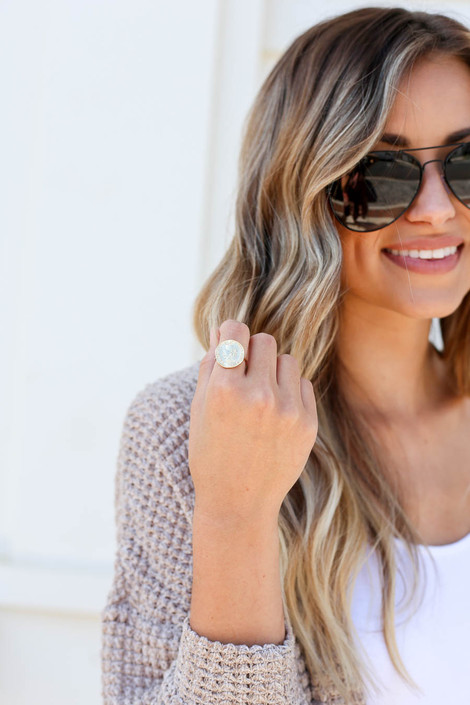 Model wearing Gold Coin Ring Flat Lay