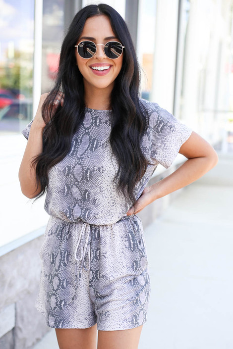 Grey - Snakeskin Soft Knit Romper