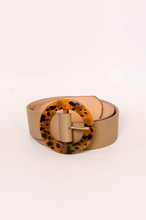 Taupe - Tortoise Statement Belt Flat Lay