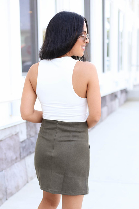 Model wearing Olive Pocketed Mini Skirt Back View