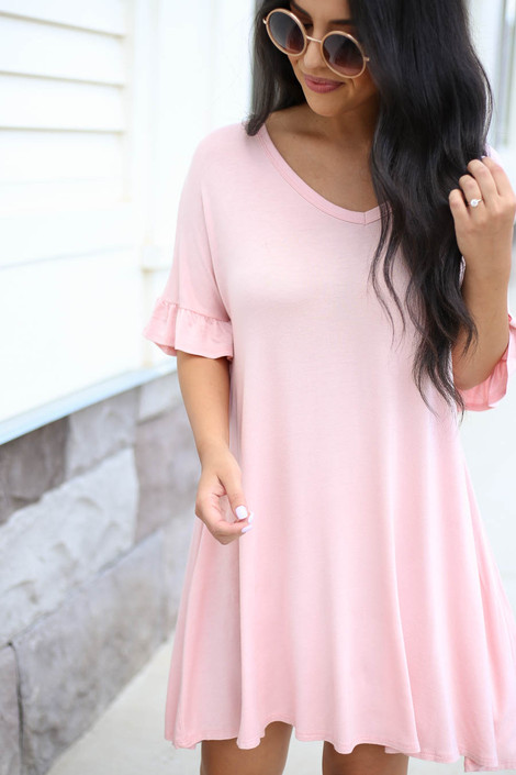 Blush - Ruffle Sleeve T-Shirt Dress Detail View