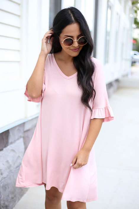 Blush - Ruffle Sleeve T-Shirt Dress