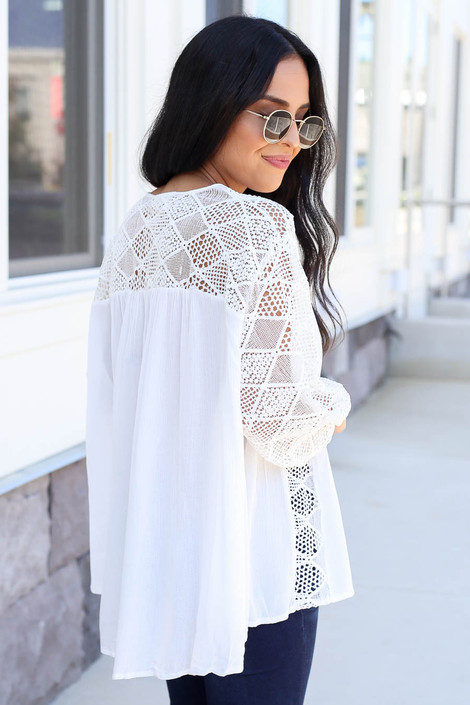 Model wearing White Crochet Blouse Side View Back View