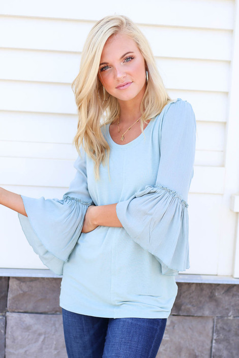 Mint - Contrast Sleeve Top Front View
