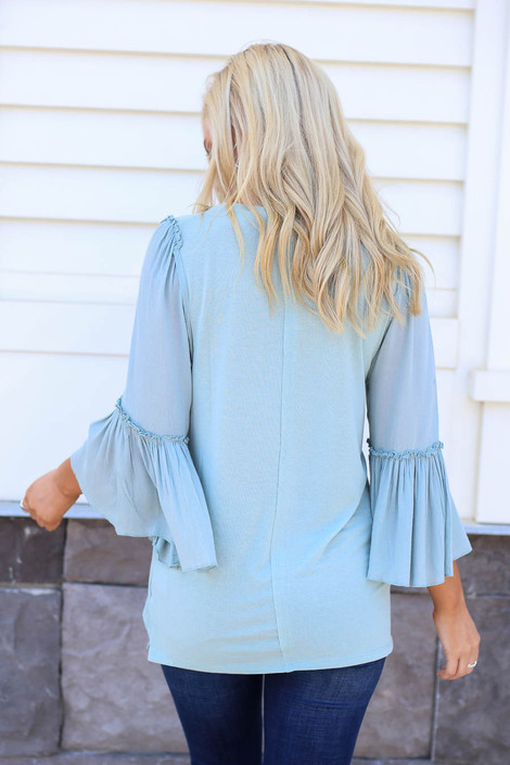 Model wearing Mint Contrast Sleeve Top Back View