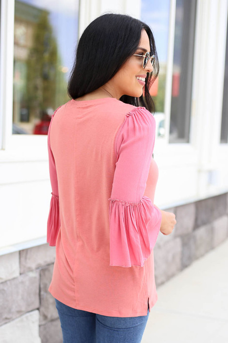 Coral - Contrast Sleeve Top Back View