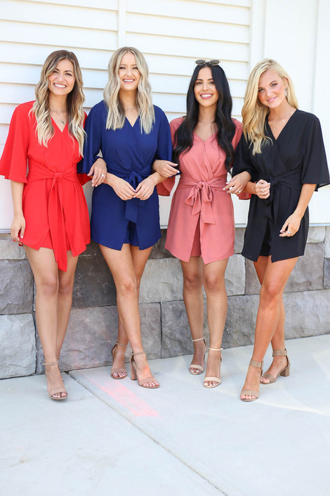 Black - Marsala, Navy + Red Tie-Front Rompers