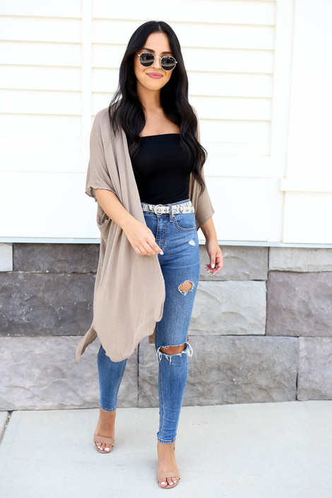 Taupe - Lightweight Knit Cardigan