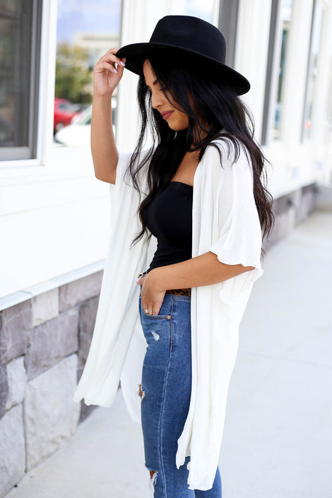 Ivory - Lightweight Knit Cardigan Side View