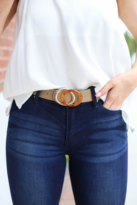 Taupe - Double O-Ring Belt on Model