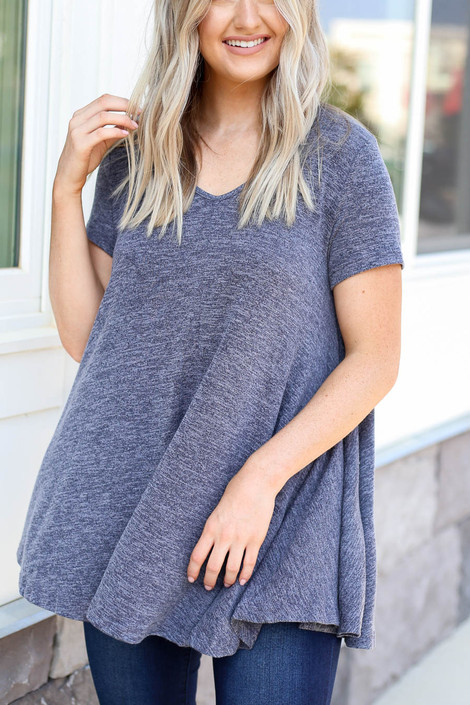 Model wearing Navy V-Neck Knit Top Detail View