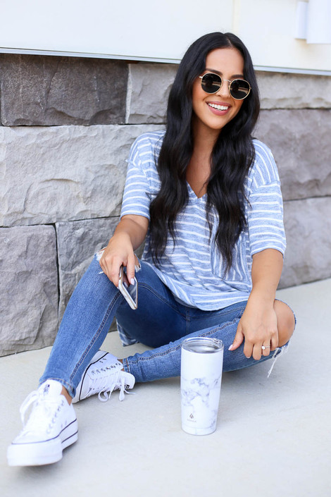 Blue - and White Striped Short Sleeve Knit Tee