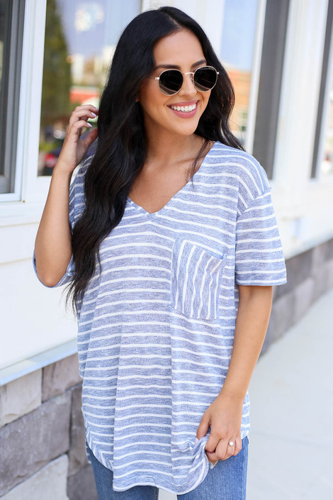 Blue - and White Striped Short Sleeve Knit Tee Front View