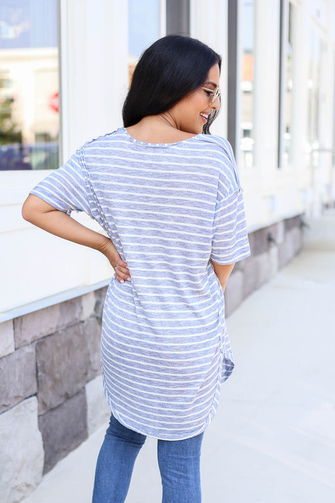 Model wearing Blue and White Striped Short Sleeve Knit Tee Back View