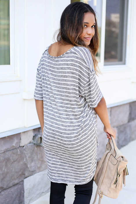 Model wearing Blue and White Striped Short Sleeve Knit Tee Black View
