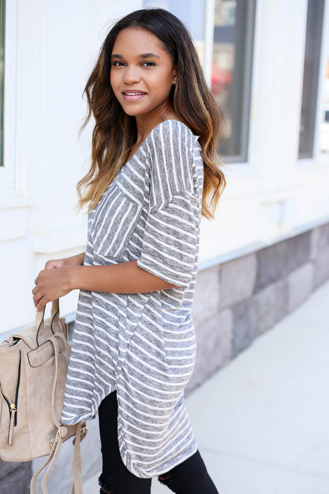 Black - and White Striped Short Sleeve Knit Tee Side View
