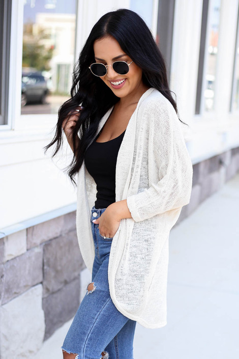 Ivory - Model wearing Ivory Knit Cardigan Side View