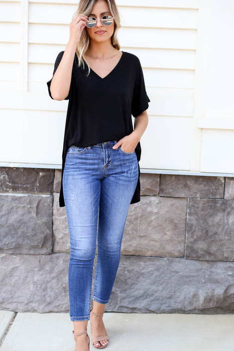 Medium Wash - Cropped Jeans