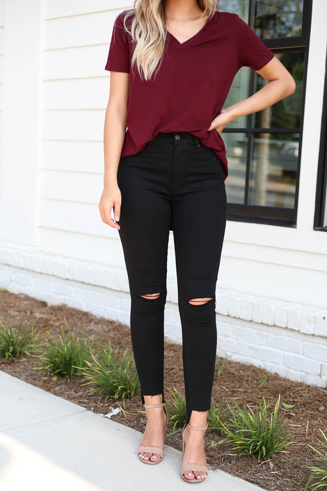 Black - Split Knee Step Hem Jeans Detail View