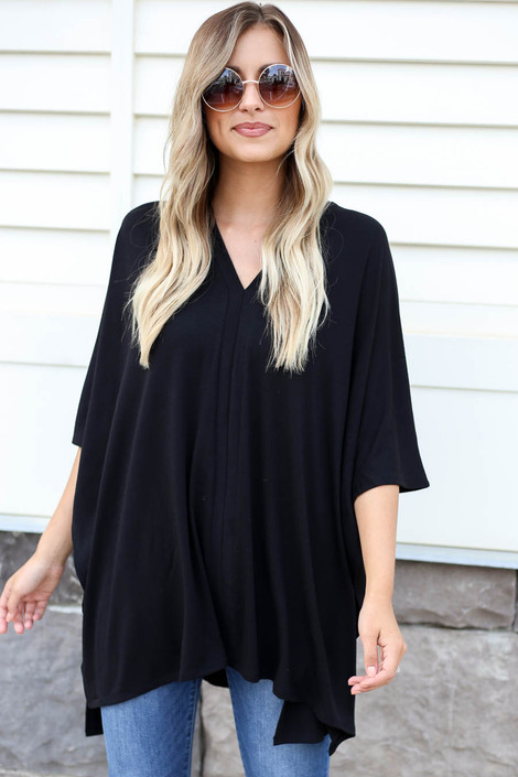 Black - V-Neck Oversized Poncho Top
