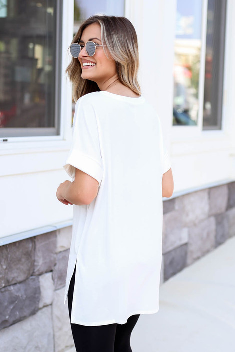 Ivory - Oversized Soft Knit V-Neck Tee Back View