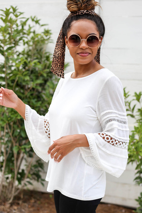 White - Crochet Sleeve Top Side View