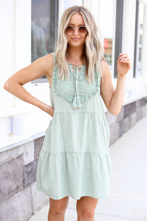 Model wearing Mint Tiered Lace Neck Dress Front View