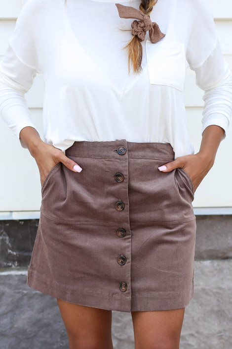Taupe - Corduroy Button Front Mini Skirt Detail View