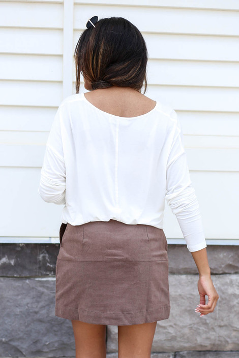 Model wearing Taupe Corduroy Button Front Mini Skirt Back View