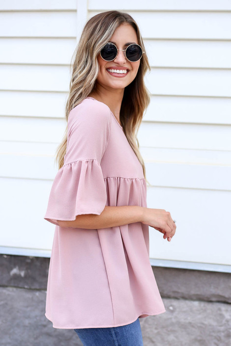 Blush - Babydoll Bell Sleeve Blouse Side View