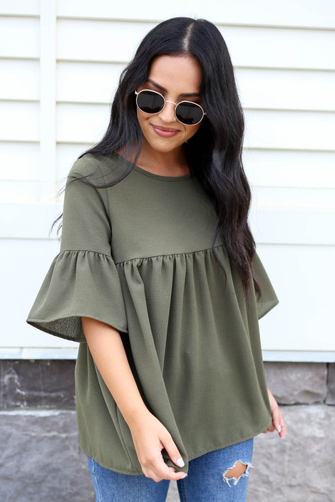 Olive - Babydoll Bell Sleeve Blouse Front View