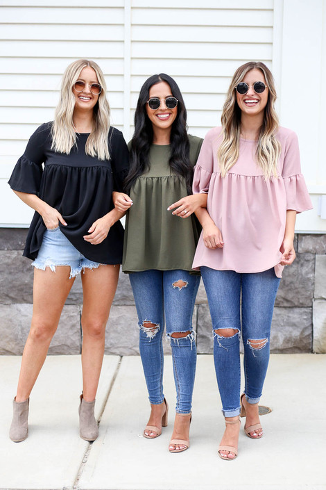 Black - Blush, Olive Bell Sleeve Babydoll Blouse