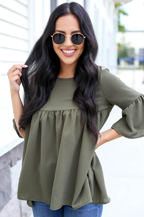 Olive - Babydoll Bell Sleeve Blouse