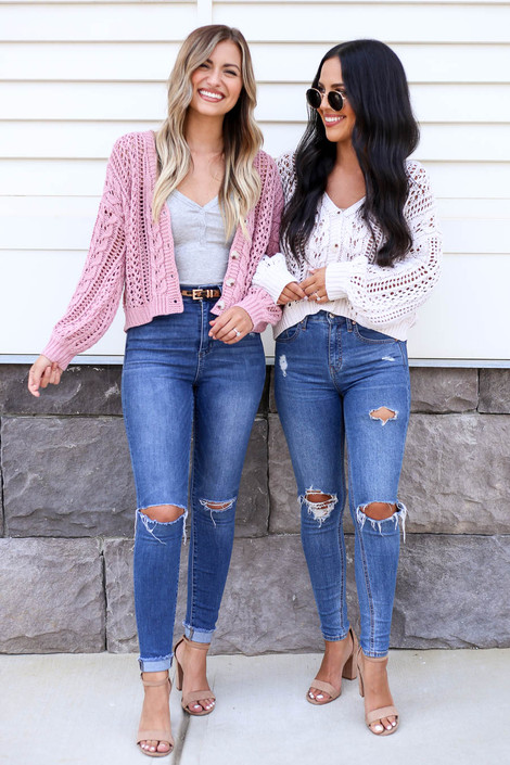 Taupe - and Blush Cable Knit Cardigans on Models