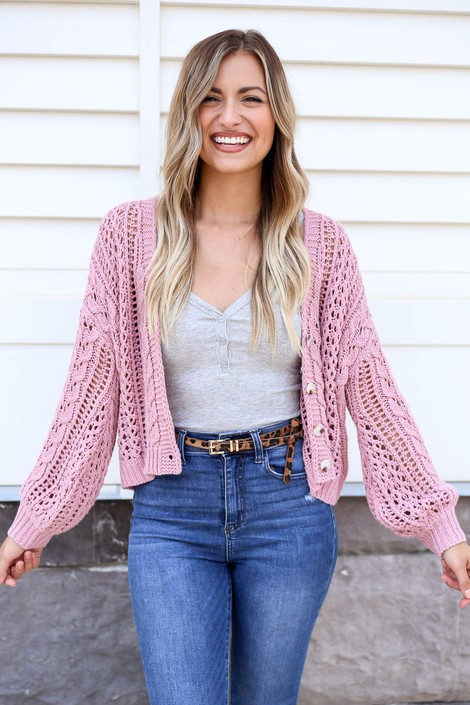 Blush - Cropped Cable Knit Cardigan