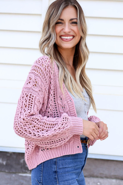 Blush - Cropped Cable Knit Cardigan Side View