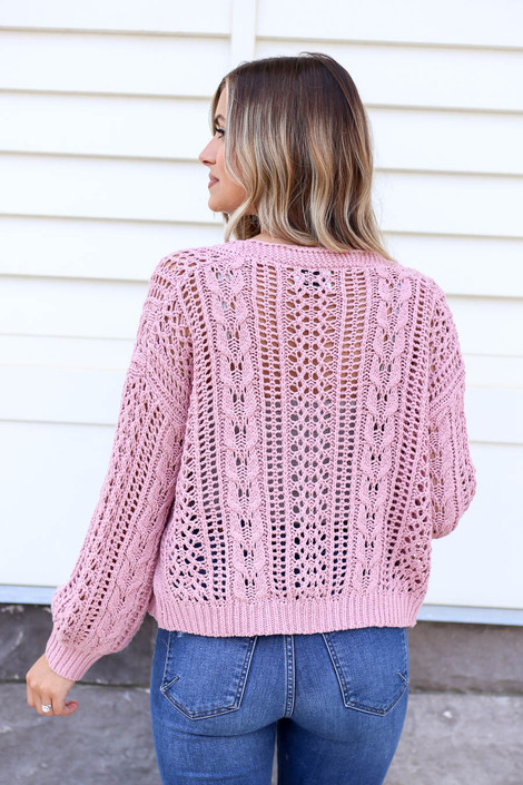 Model wearing Blush Cropped Cable Knit Cardigan Back View