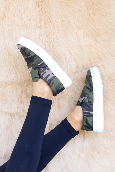 Camo - Platform Slip on Sneakers on Model