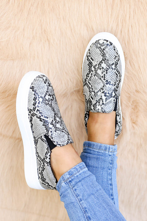 Snake - Snakeskin Platform Slip On Sneakers on Model