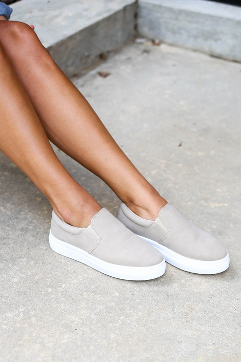 Taupe - Platform Slip On Sneakers on Model